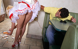 careless waitress will be punished in the ass