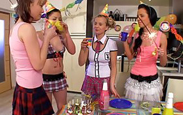 Horny and sickening lassies are behaving really funny on the arousing birthday party