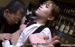 Asian bartender seduces a sexy slutty girl Aoi Mochida